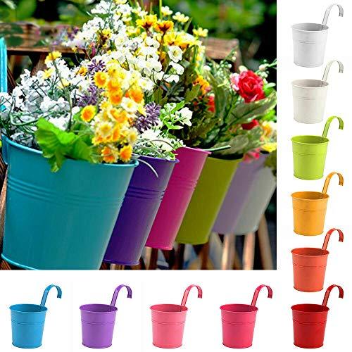 Cozywind 10pcs Macetas Colgantes de Colores, Metálicos Maceteros Exterior para Plantar Pequeñas Plantas, Decoración Jardin Balcón Terraza (Multi)