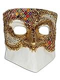 Máscara de media cara veneciana Bauta Matteo para hombres
