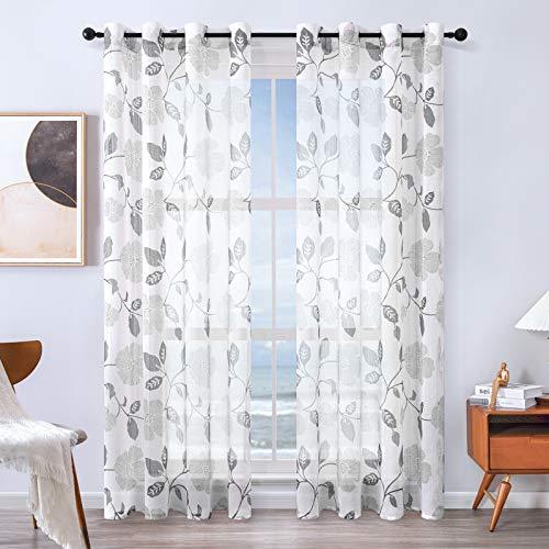 MRTREES Voile Gardinen Vorhang halbtransparent kurz Gardine Blumen Vorhänge Muster mit Ösen in Leinenoptik Grau 225×140 (H×B) Schlaufenschal 2er Set für Wohnzimmer Schlafzimmer Kinderzimmer