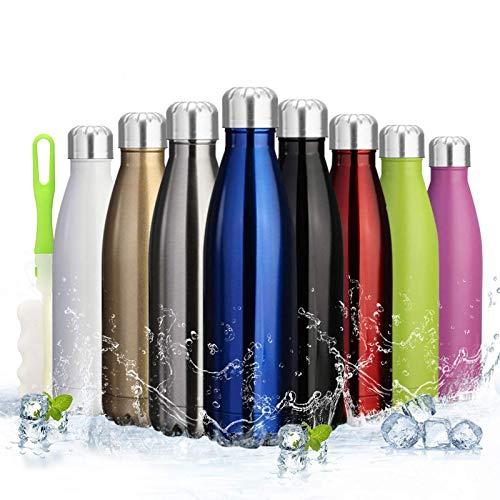 Botella de agua aislada de acero inoxidable doble pared para el blanco al aire libre pulido reutilizable