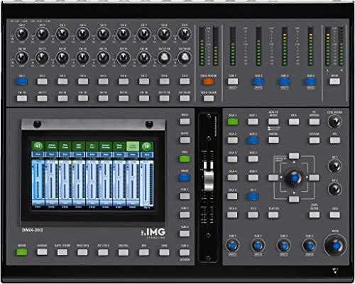 IMG STAGELINE DMIX-20/2 Digital-Mischpult mit intuitivem Bedienkonzept und kompakter Bauweise für Einsätze auf Bühnen oder im Home-Studio, DJ-Mischpult über konstenfreier App steuerbar, in Schwarz