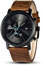 Brown Leather Watches for Men Black Casual Men's Analog Wrist Watch Business Chronograph Date Waterproof Quartz Wristwatch by MDC