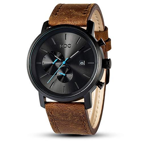 Herren Armbanduhr Chronograph Herrenuhr Lederarmband Elegantes Geschenk Für Männer Wasserdicht Schwarz Braun Uhren Mode by MDC