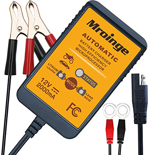 Mroinge 12 V 2 A Blei-Säure & Lithium (LiFePO4) Automatisches Erhaltungsbatterie-Ladegerät Smart Battery Maintainer für Auto Motorrad Rasenmäher Boot ATV SLA AGM Gelzelle Lithium (LiFePO4) und weitere Batterien