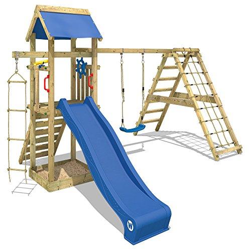 Wickey Speeltoren Smart Park klimtoren glijbaan schommel zandbak, blauwe glijbaan + blauw zeil
