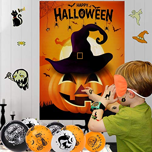 HOWAF Halloween Party Games for Kids, Pin The Nose On The Pumpkin Game, 20PCS Halloween Balloons and Tattoos for Kids Halloween Supplies Favors, Halloween Party Decorations (PIN The Pumpkin)