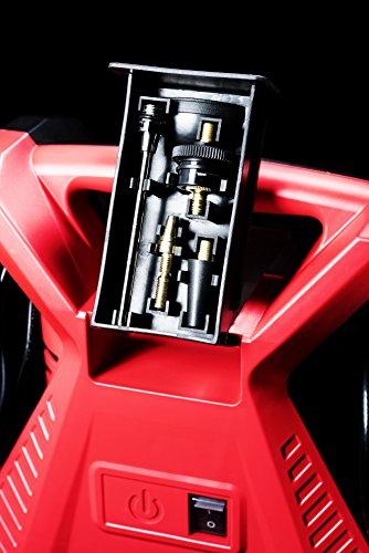 Meister Kompressor tragbar - 1100 W - 8 bar - 5 m Kabel - 9 Adapter inklusive - für Luftmatratzen, Fahrradreifen, Bälle & Co. / Druckluft-Kompressor / Luftpumpe / Reifenfülldruckmesser / 5404300