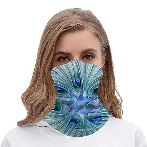 Floral Beauty Abstract Blue Pastel Flower Unisex Multifunctional Bandana Neck Gaiter Tube Headwear headkerchief, Motorcycle Face Bandana Headband for Women Men Face Scarf