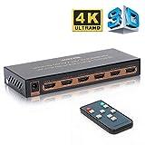 REEXBON HDMI Switch 4K@60Hz 5x1 Port Commutateurs Prend en Charge Les formats HDR, 1080P, Full HD / 3D, HDCP 2.2 pour TV, Blu-Ray,...