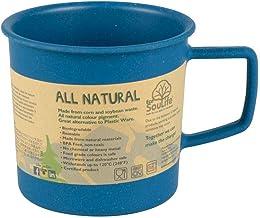 BIOZOYG EcoSouLife Bambus Camping Becher I Bambus Tasse I Umweltfreundliches Geschirr nachhaltig - ideales Kinder und Campinggeschirr I Kaffeebecher kompostierbar I Tasse öko 430ml Marine Blau