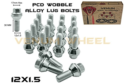 20pc 17mm Hex Zinc PCD Variation Lug Bolts M12x1.5 (30mm) Shank 1.2 Radius Fits on 5x114 Wheels to Adapt 5x112 wheels U.S