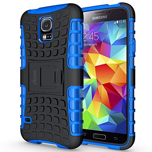ykooe Funda Samsung Galaxy S5, Teléfono Híbrida de Doble Capa con Soporte Carcasa para Samsung Galaxy S5 5,1 (S5 Funda Azul)