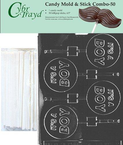Cybrtrayd 45St50-B023 Het is een jongen Lolly Chocolade Snoep Mold met 50 Cybrtrayd 4.5 Lollipop Sticks door CybrTrayd