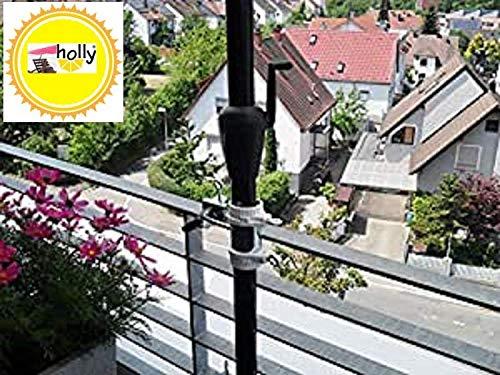 Stabielo 2 x supports jusqu'à Ø 40 mm – Support de parasol pour Ø 25,5 mm à 53 mm – Lot de 2 – Support de parasol pour balcon pour extérieur ou intérieur Fixation avec 6 + 11 cm Distance parasol – breveté Holly – pour fixation à des éléments ronds ou carrés jusqu'à 40 mm avec support en acier inoxydable rotatif à 360 ° avec capuchons en caoutchouc pour une fixation sans rayures – orientable à 360 ° – Support avec bagues de distance pour parasol de 25,5 jusqu'à Ø 55 mm avec 13 cm plus profond pour le manchon de réception et axe fileté d'écart pivotant 6 + 11 cm plus long – Innovations fabriqué en Allemagne – Produits Holly® Stabielo Holly-Sunshade® – pour parasol de plus de 2,50 cm Ø – 2 supports ou 2 fixation TE utilisés pour des raisons de sécurité (serre-câbles)