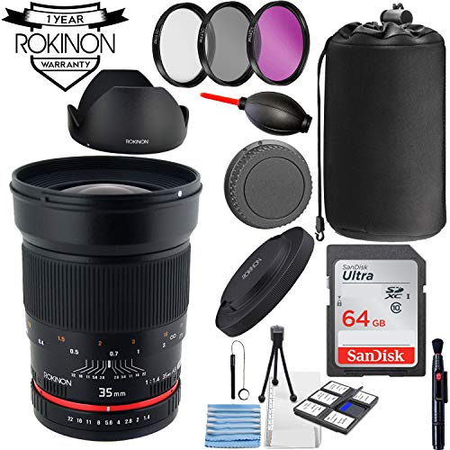 Rokinon 35mm f/1.4 AS UMC Lens for Nikon F with AE Automatic Chip + Essential Accessory Bundle