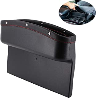 DEFENNA Car Seat Pockets PU Leather Car Console Side Organizer Seat Gap Filler Catch Caddy with Non-Slip Mat 9.2x6.5x2.1 inch Black