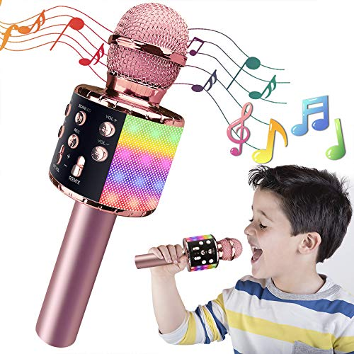 Karaoke Microphone for Kids, Wireless Bluetooth Karaoke Microphone with LED Lights, Portable Handheld Mic Speaker Machine, Great Gifts Toys for Kids Adults Birthday/Party/Christmas/Home KTV