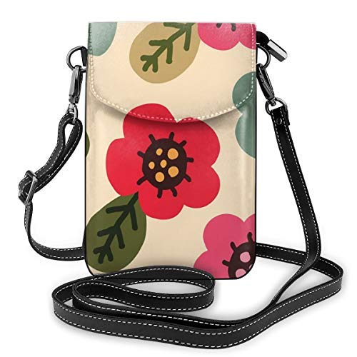 XCNGG bolso del teléfono Premium PU Leather Crossbody Bag Cell Phone Purse, Lightweight Mini smart phone Pouch with Adjustable Shoulder Strap, Colorful Flower
