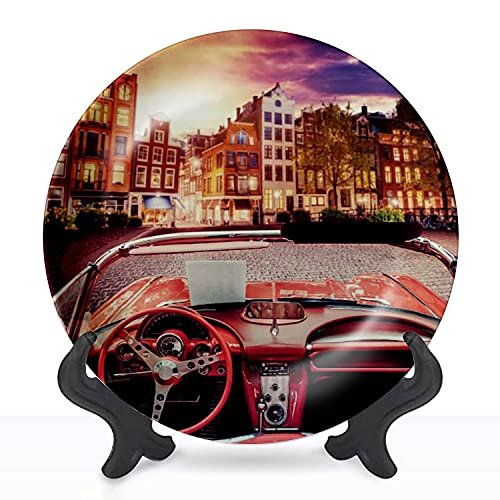 """Ceramic Hanging Decorative Plate Beautiful vintage car on the street in Amsterdam Netherlands Wall Plate Ceramic Ornament for Home & Office, Dining, Parties, Wedding 8"""" Collector Plate -  XQSSAHRRNIEV"""