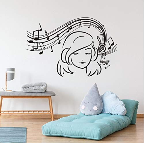 Pbbzl Chica Musical Tatuajes De Pared De Vinilo Amante De La Música Etiqueta De La Pared Música Chicas Adolescentes Habitación Decoración Notas De La Música Extraíble Arte De La Pared Mural 42X63 Cm