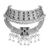 idealway Retro Boho Tribal Tassel Collar Bib Chain Chunky Pendant Statement Necklace Choker for Women (Silver)