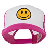 e4Hats.com Smile Face Embroidered Foam Mesh Back Cap - Hot Pink White OSFM