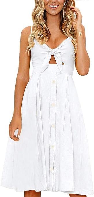 FANCYINN Womens Floral Prints Tie Front Button Down Spaghetti Strap Midi Dress
