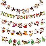 5 Piezas Guirnalda Navidad Banner, Buntings Banner Colgantes Decorativas, con Patrón de Letras de Dibujos Animados, Papá Noel, Muñeco de Nieve y Renos, Utilizado para la Decoración Fiesta de Navidad