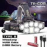 HSZH Phare Phare Rechargeable USB 80000lm Phare 2 * t6 + 5 * q5 + 1 * COB LED Lampe Frontale Lampe de Poche Torch Head Lanterne 18650 Batterie B
