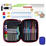 Katech 100 Pieces of Knitting Crochet Accessories with Storage Case, Practical Crochet Hooks Set Ergonomic Aluminum Alloy Knitting Crochet Needles Weave Yarn Kit DIY Hand Knitting Art Tools (Blue)