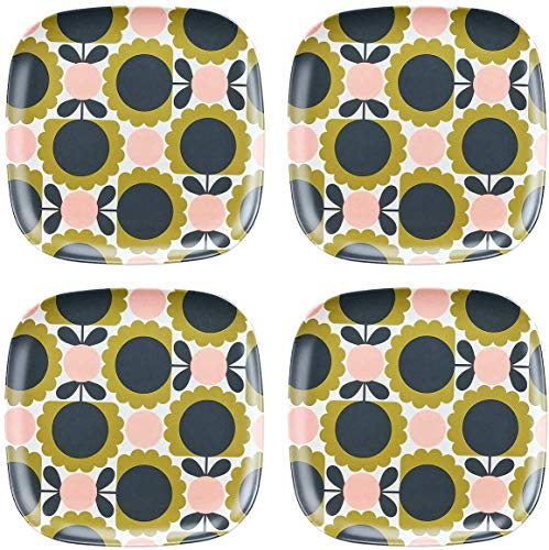 Orla Kiely Set of 4 Bamboo Side Plates - Scallop Flower Forest