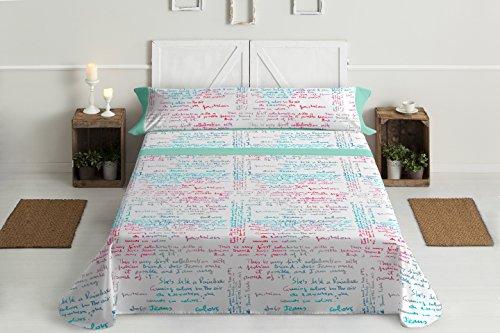 Lois letras juego de sábanas 4 piezas, 50% algodo 50% poliester, gris cama 180x190/200