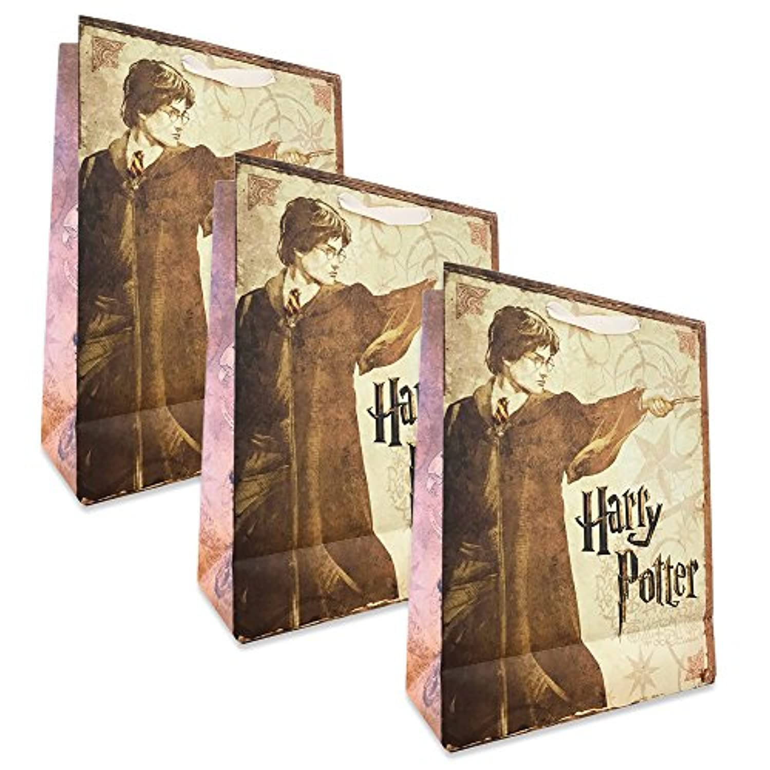 Harry Potter Gift Bags Set -- Pack of 3 Harry Potter Party Favor Bags, 9 x 12 Inches (Party Supplies)