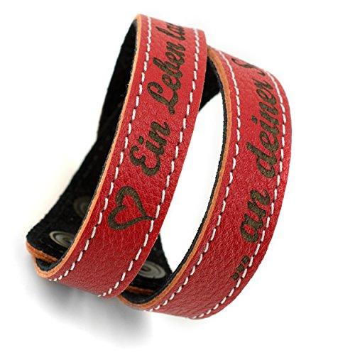 MenQ-Shop partnerarmband, set van 2, lederen armband met gravure, rood gegraveerd, een leven lang aan je kant