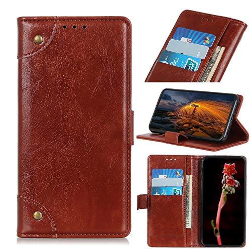 Funda para Motorola Moto One Fusion Plus con hebilla de cobre, textura de napa horizontal, con soporte, ranuras para tarjetas y cartera hangma (color: marrón)