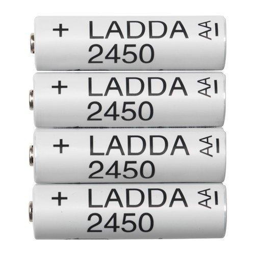 IKEA LADDA - Pilas recargables 2450, HR6 AA 1,2 V - Paquete de 4