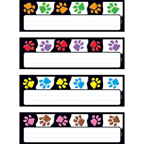 Trend Enterprises Paw Prints Desk Toppers Name Plates Variety Pack (32 Piece), 2-7/8' x 9-1/2'