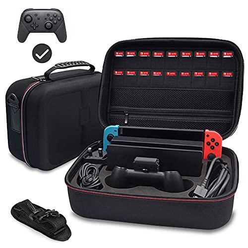 WapoRich Switch Tasche Groß, Tragetasche Kompatibel mit Nintendo Switch, Deluxe Hard Reisetasche Travel Case Schutzhülle mit 18 Patronen und Gurt Verstellbarer für Console, Dock, Ladegerät, Joy-Con