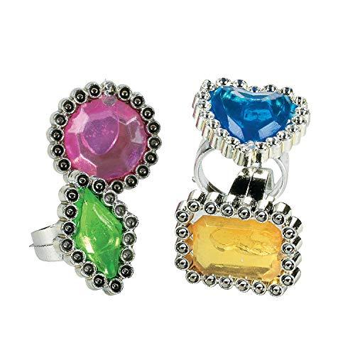 Fun Express Anillos de Diamantes de imitación de Colores (6 docenas)