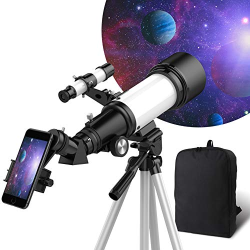 Telescope for Kids Beginners, 70mm Aperture 400mm AZ Mount, Fully Multi-Coated Optics, Telescopes for Adults, Astronomy Refractor Telescope Portable Travel Scope with Tripod, Phone Adapter, Backpack