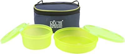 Ruchi Housewares Super Fresh 2 Pcs Insulated Lunch Box 900 Ml Green