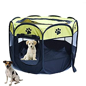 Horing Pop Up Tent Pet Playpen Carrier Dog Cat Puppies Portable Foldable Durable Paw Kennel Yellow S