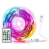 Tira LED USB 5M, Tasmor Luces LED 5050 RGB Multicolor TV Retroiluminación con Control Remoto, 16 Colores 4 Modos, Music Sync LED...