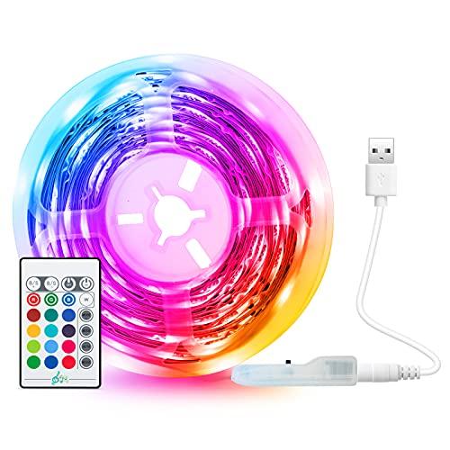 Tira LED USB 5M, Tasmor Luces LED TV Retroiluminación RGB SMD 5050 Music Sync LED Strip con Control Remoto, 16 Colores 4 Modos para Hogar, Cocina, Fiesta y habitacion Decoración