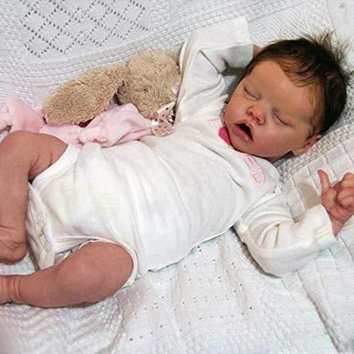 UNIE 43,2 cm realistische Baby-Mädchen, Reborn-Baby-Puppe, Vollsilikon-Körper, schlafende Neugeborenen-Puppe, Kindergeschenk