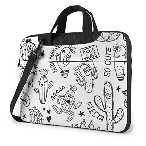 Laptop Shoulder Bag 15.6 Inch, Black Cacti Pattern Briefcase Protective Bag