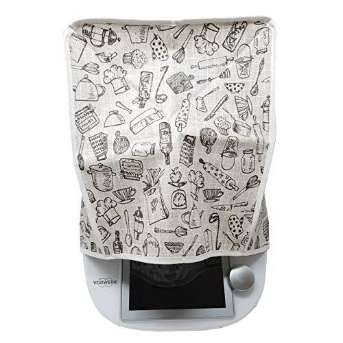 Mix-Slider – Schutzhülle für Thermomix, Abdeckhaube für TM5, TM6, TM31 und andere Küchengeräte (Küchen-Design schwarz)