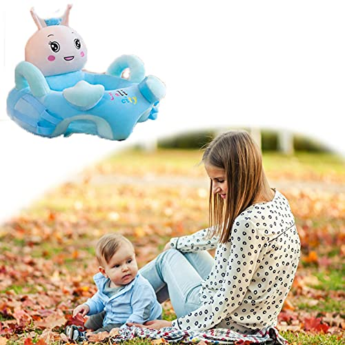 Baby Floor Plush Lounger, Cartoon Baby Plush Chair Sofa, Baby Sit Up Chair Back Head Protect Seat, Soft Baby Support Seat Chair, Infant Learning Sit Chair, for Toddlers 3-24 Month withoutpole Blue
