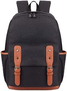 ZXBAO Backpack- Vintage Backpack for Men, Canvas Leather Laptop School Backpack College Bookbag (Color : Black)