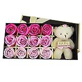 12 Stück Badeseife Blumen mit Puppe, Blumenduft Rose Blume Blütenblatt Badekörper Seife Bestes...